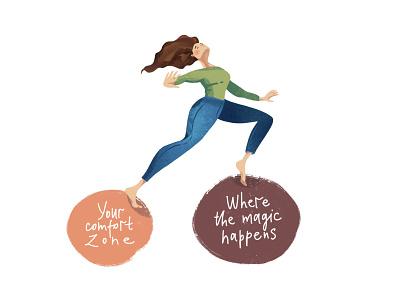Where the magic happens magic hat comfort zone people flat psychology character design procreate illustration