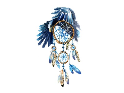 Eagle Dreamcatcher bohemian boho hippie tribal ethnic eagle dreamcatcher watercolor