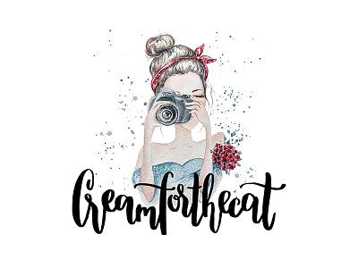 Logo for Creamforthecat photography girl illustration type handlettering calligraphy lettering watercolor design graphic design logo