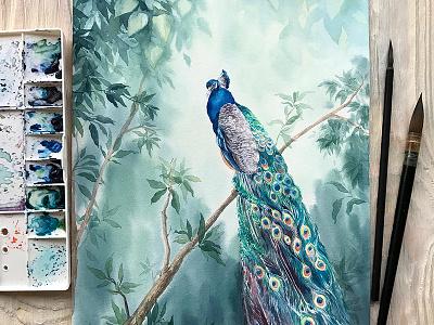 Watercolor Peacock in Paradise picture paradise hand drawn watercolor painting art peacock aquarelle illustration watercolor