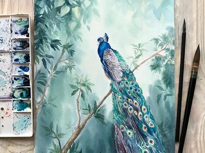 Watercolor Peacock in Paradise