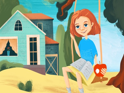Picture for cover of book girl character redhead flat illustration cover artwork procreate childrens book childrens illustration character design