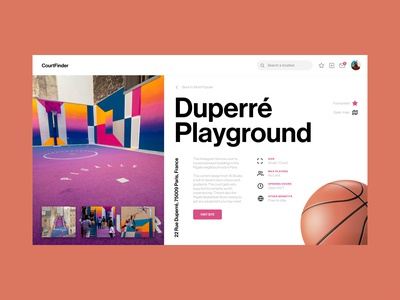 Court Finder - UI search engine web design simple white layout web modern search court sport interface clean ux application basketball dribbble website minimal ui design