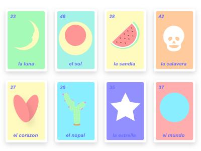 Loteria Redesign game bingo mexican pastel simple fun redesign loteria