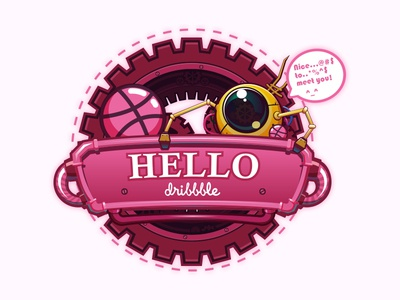 Hello Dribbble! hello robot illustration debuts