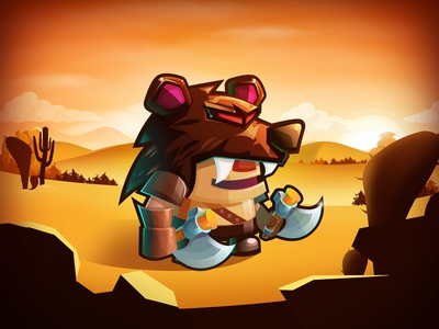 Sword & Magic - Barbarian in the desert magic game cute illustration