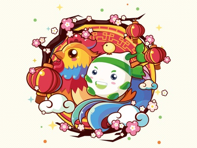 Happy New Year! china cartoon illustrator cute icon