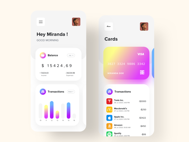 Puddle banking gradients savings debit ecommerce iphone app minimal interaction colors uidesign ux ui