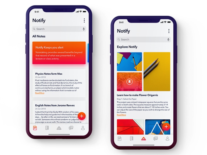 Notify App by Ashutosh for Nickelfox on Dribbble