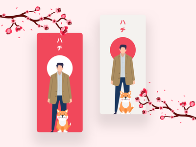 Hachiko minimal sakura movie akita dogs app iphone illustration colors uidesign ux ui