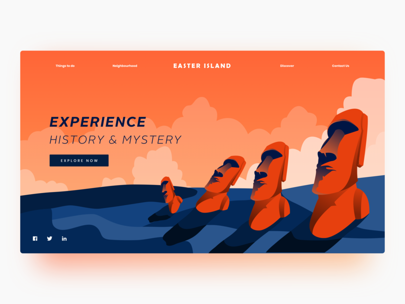 Easter Island island easter vector illustration header webdesign website minimal landing page colors uidesign ux ui