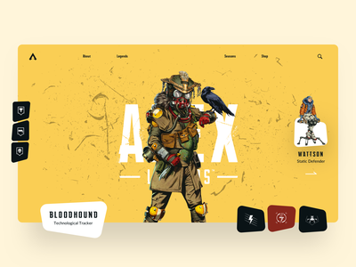 APEX battle royale games apex legends game header webdesign website landing page minimal interaction colors uidesign ux ui