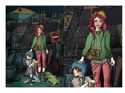 Junkyard Lizards pen and ink photoshop artwork characters drawing illustration