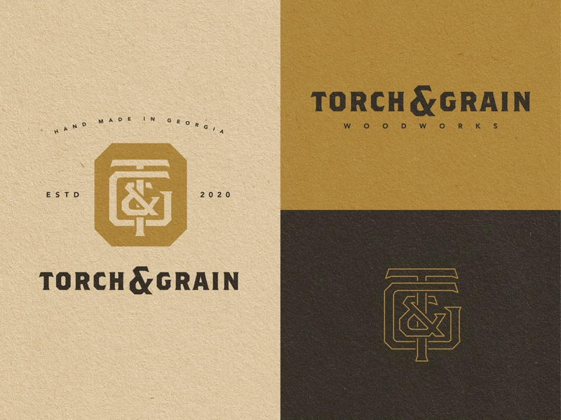 Torch & Grain - Branding ampersand georgia monogram badge woodworking brand identity vintage graphic design design logo branding
