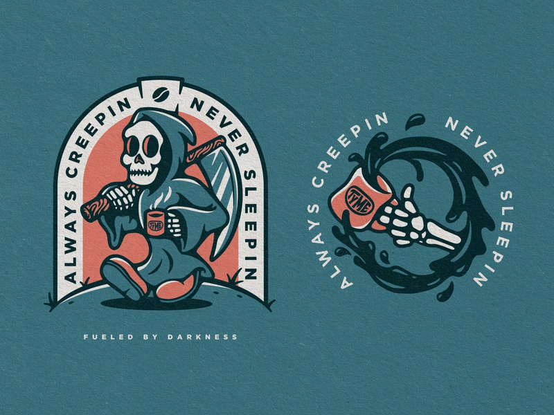 Always Creepin denver vector mascot skull reaper coffee badge graphic design drawing illustration icon logo