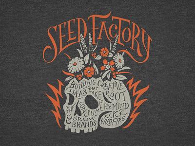Seed Factory - TShirt logo vintage flowers skull lettering handlettering typography illustration graphic design design