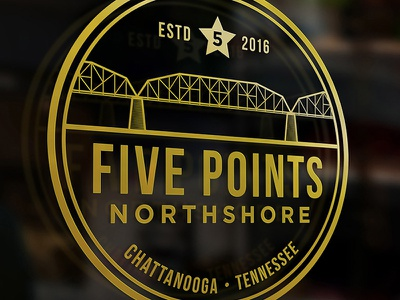 Five Points - concept gold tennessee chattanooga lineart vector illustration badge typography icon logo branding