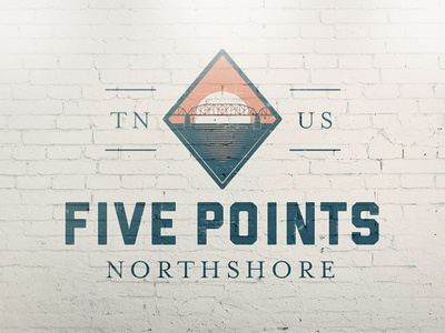 Five Points - concept serif bridge tennessee chattanooga lineart vector illustration badge typography icon logo branding