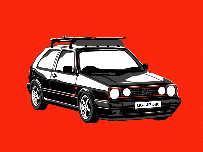 '92 Volkswagen Gti screenprint procreate ipad graphic design car volkswagen vw drawing flat illustration design