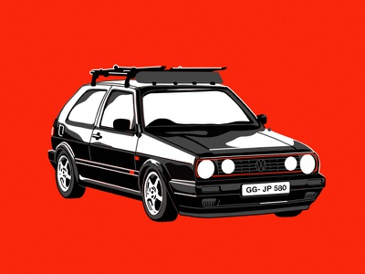 '92 Volkswagen Gti screenprint procreate ipad graphic design car volkswagen vw drawing flat illustration design