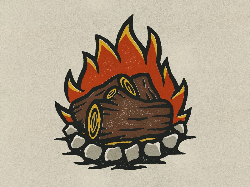 Campfire Illustration stamp outdoors nature camping retro grunge grit graphic design design flat texture illustration icon
