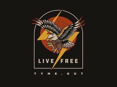 TYME - Eagle screenprint shirt texture vector flash tattoo eagle design graphic design flat illustration branding logo