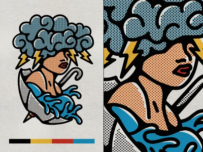 TYME - Never Stops Raining storm color primary halftone texture vintage pop art line art flat illustration graphic design design