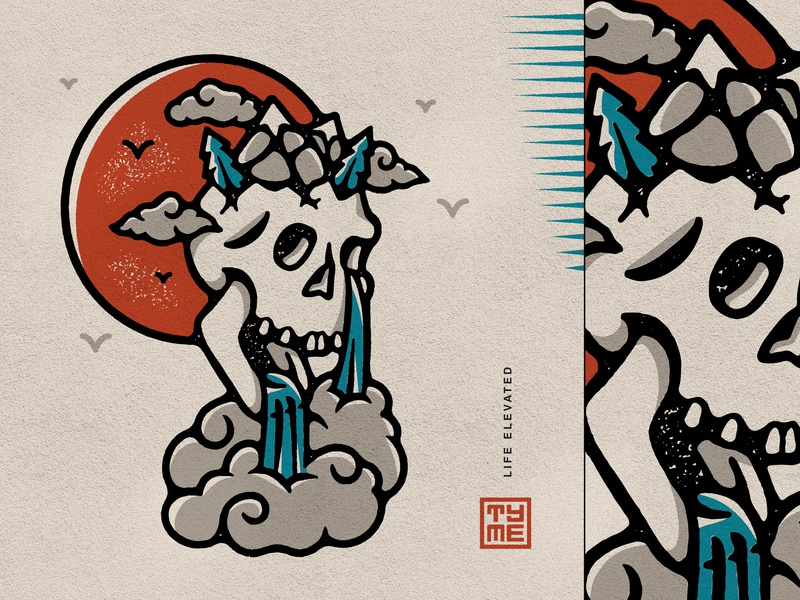 TYME - Life Elevated texture mountain skull nature procreate vector graphic design design icon branding drawing illustration