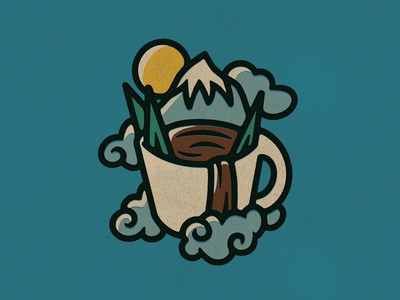 CampCup simple patch mountain nature coffee vector logo icon graphic design design drawing art illustration