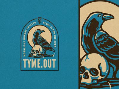 TYME - Raven illustration graphic design design moon skull raven procreate vector icon badge logo