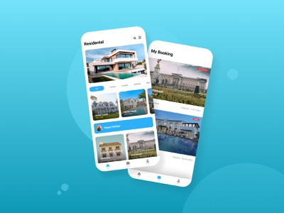 Residental - Mobile App UI Design react native ui ui design mobile app design ios flutter design android home holiday house hotel booking