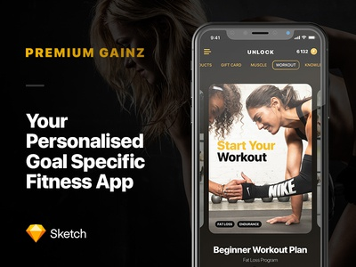 Premium Gainz - Fitness App iphone x mobile health design ui ux workout sport fitness app