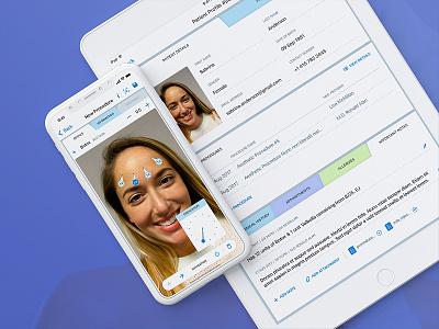 Aesthetic Record ERM - iOS App crm procedure medical beauty health profile app iphone ipad design med