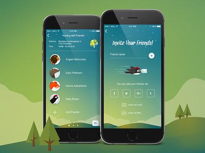 Friends - iOS App bird cartoon graphic green wood animals mobile design ios iphone app social
