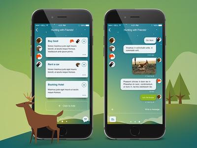 Friends - iOS App bird cartoon graphic wood chat messenger mobile design ios iphone app social