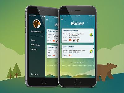 Friends - iOS App bear cartoon graphic wood menu group mobile design ios iphone app social