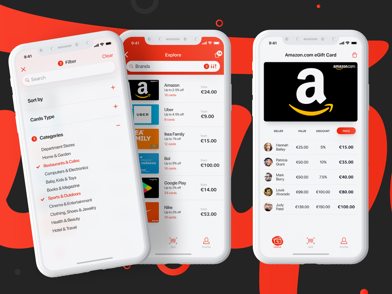 Swapify - Catalog & Filter clean white search bar tabbar sellers details design search filter catalog card discount egift giftcard list ui ux ios mobile app