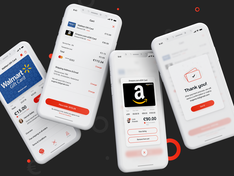 Swapify -  Checkout Process favorite egift icon thank-you detail screen sell design giftcard discount card thank you cart payment checkout checkout process ios ui ux app mobile
