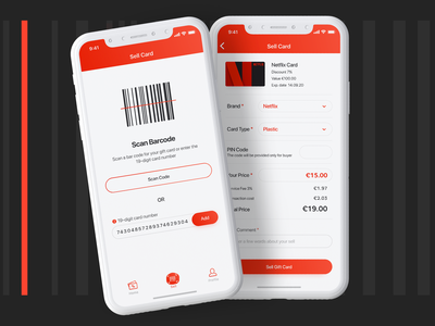 Swapify - Sell Gift Card input field red white clear price scan egift form details discount gift card sell bar code ui ux ios mobile app