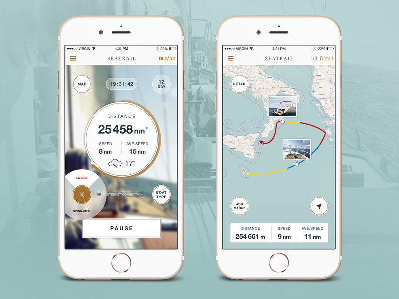 Seatrail App - Track & Share Your Adventure chronometer design ios white clean dashboard speed distance boat yaht seaway map track sea ui ux app mobile