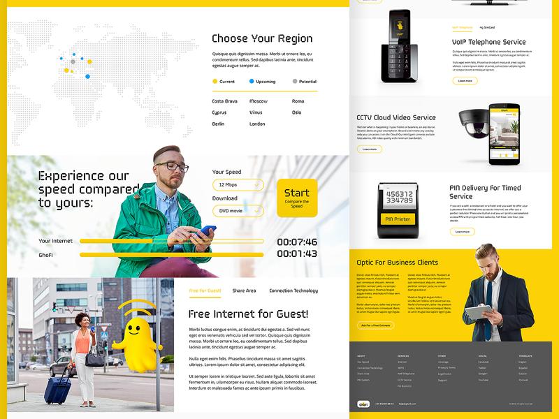 Ghofi.com fiber provider page landing yellow internet web ux ui design