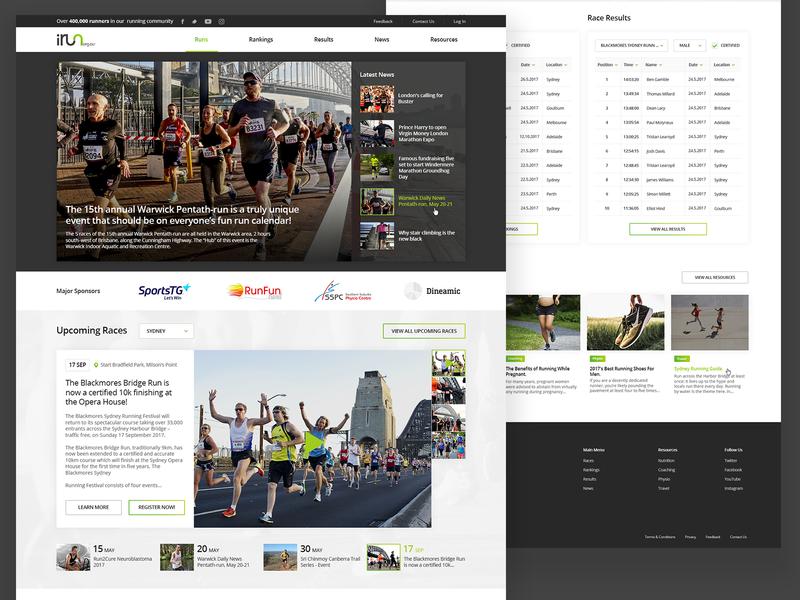 iRun Homepage marathon run gallery homepage workout website running sport design ux ui web