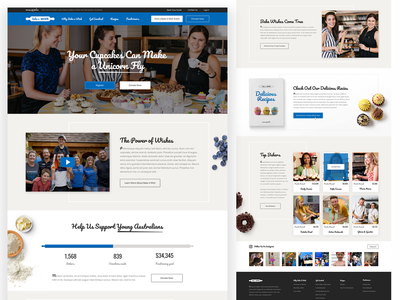 Bake a Wish Website Design donate blue clear style recipes bake cookie bakery sweets cake landing page design web ux ui
