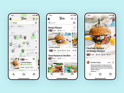 Taste Mobile App card pin design ui eats meal food cards list details map ios mobile app cafe