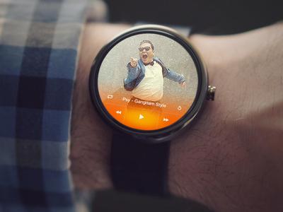 Music player on smart watch.