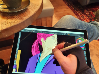 Illustration work being made illustration drawing