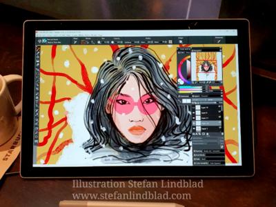 Close up illustration woman glasses illustration drawing digital