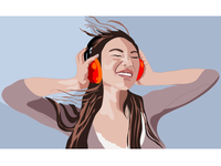 Asiangirl Headphones Vectorillustration Stefan Lindblad 2016