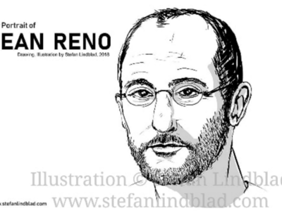 Drawing portrait of Jean Reno, French actor