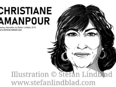 Drawing portrait of Christiane Amanpour on CNN corel painter illustrator stefan lindblad christiane amanpour digital art drawing illustration portrait
